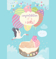 nice card with stork and baon blue sky vector image vector image