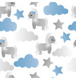 pattern with cartoon pony clouds and stars vector image
