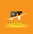 pt p t letter modern logo design with yellow vector image vector image