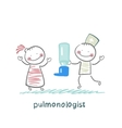 pulmonologist gives spray for asthma patients vector image vector image