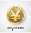renminbi yuan gold coin realistic money vector image