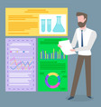 scientist and chemical documents infographics vector image vector image