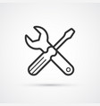 screwdriver and spanner flat line icon eps 10 vector image vector image