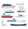 sea ship and boats set vector image vector image