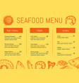 Seafood restaurant menu brochure template vector image