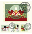 Series of stylized Christmas post stamps vector image