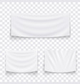 set of hanging empty white textile banners vector image vector image