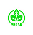 simple round vegan product green logo vector image vector image