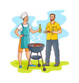 sketch men drinking beer at barbeque party vector image