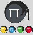stool seat icon sign Symbol on five colored vector image