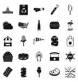 street eatery icons set simple style vector image vector image