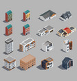 suburban buildings icon set vector image