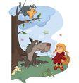 The Wolf and the Little Red Riding Hood cartoon vector image