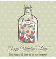 valentine card with jar filled with hearts vector image vector image