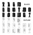 variety of terminals black icons in set collection vector image vector image