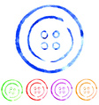 watercolor sewing button blue green red purple vector image