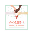 womens day floral greeting card with crossed vector image vector image