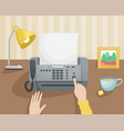 workplace with a fax and a girl pressing a button vector image vector image