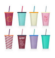 set of plastic fastfood cup for beverages with vector image