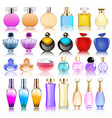 a set perfume bottles on a white background vector image