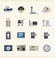 airport icons set flat icons set for website vector image