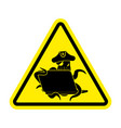 attention web pirate octopus and laptop caution vector image vector image