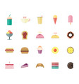 bakery cake and ice cream flat icon vector image