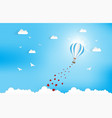 balloon flying over cloud with heart float on the vector image vector image
