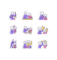 bonding activity rgb color icons set vector image vector image
