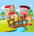 boy and girl crossing bridge in neighborhood vector image vector image