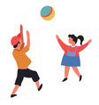 boy and girl throwing ball children playing active vector image