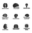 brain power logo set simple style vector image