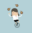 businesswoman juggling money bag while cycling vector image
