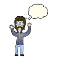 cartoon hippie man waving arms with thought bubble vector image vector image