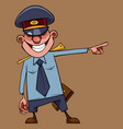 cartoon man in a policeman uniform laughs and vector image vector image