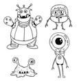 cartoon set 02 of friendly aliens astronauts vector image