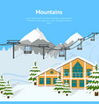 cartoon winter skiing resort background card vector image