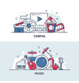 cinema and music - modern line design style vector image vector image