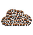 cloud mosaic of oak acorn icons vector image vector image