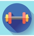 Color dumbbell icon with long shadow Symbol of vector image vector image
