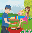 Couple outdoor grilling meat vector image