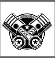 cross motorcycle piston black and white emblem vector image vector image