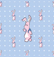 cute cartoon bunny with backpack seamless pattern vector image vector image