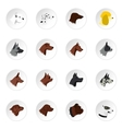 Dog head icons set flat style vector image vector image