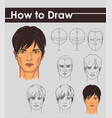 draw tutorial step by step male face vector image vector image