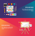 Drawing Concept Set of Flat Style for Web Banners vector image