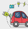 electric car technology with recharge battery vector image