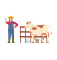 farmer holding bottle milk farming man and cow vector image vector image