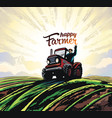 farmer on tractor waving his hands to top vector image vector image