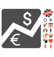 financial diagram icon with valentine bonus vector image vector image
